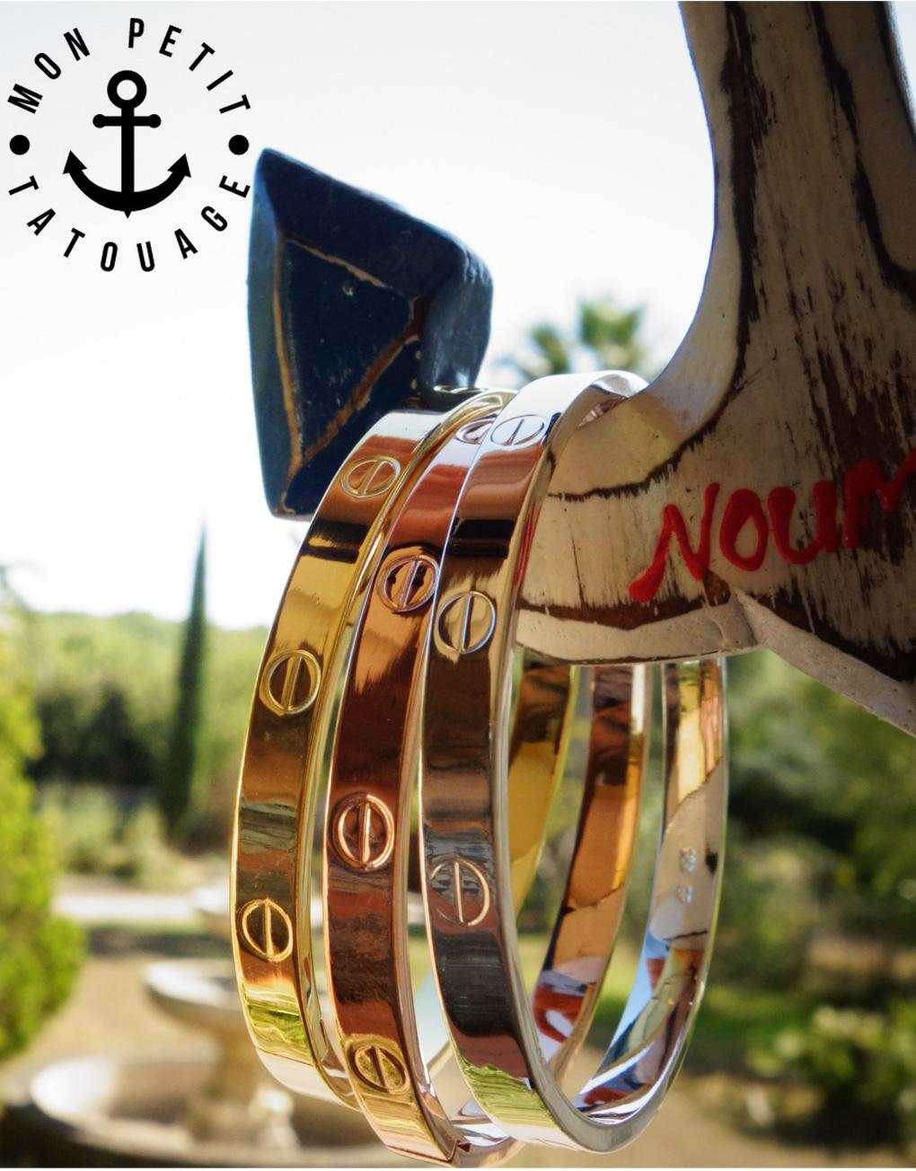 Bracelet Jonc Vis Love Or Jaune, Or rose, Argent - Femme   Mon Petit  Bracelet 54a5f9018a1e