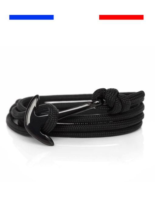 Bracelet ancre noir Acier inoxydable