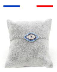 Bracelet mauvais œil Bleu argent femme
