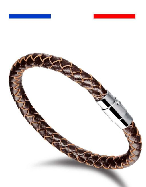 Bracelet cuir homme acier inoxydable lifestyle jonc