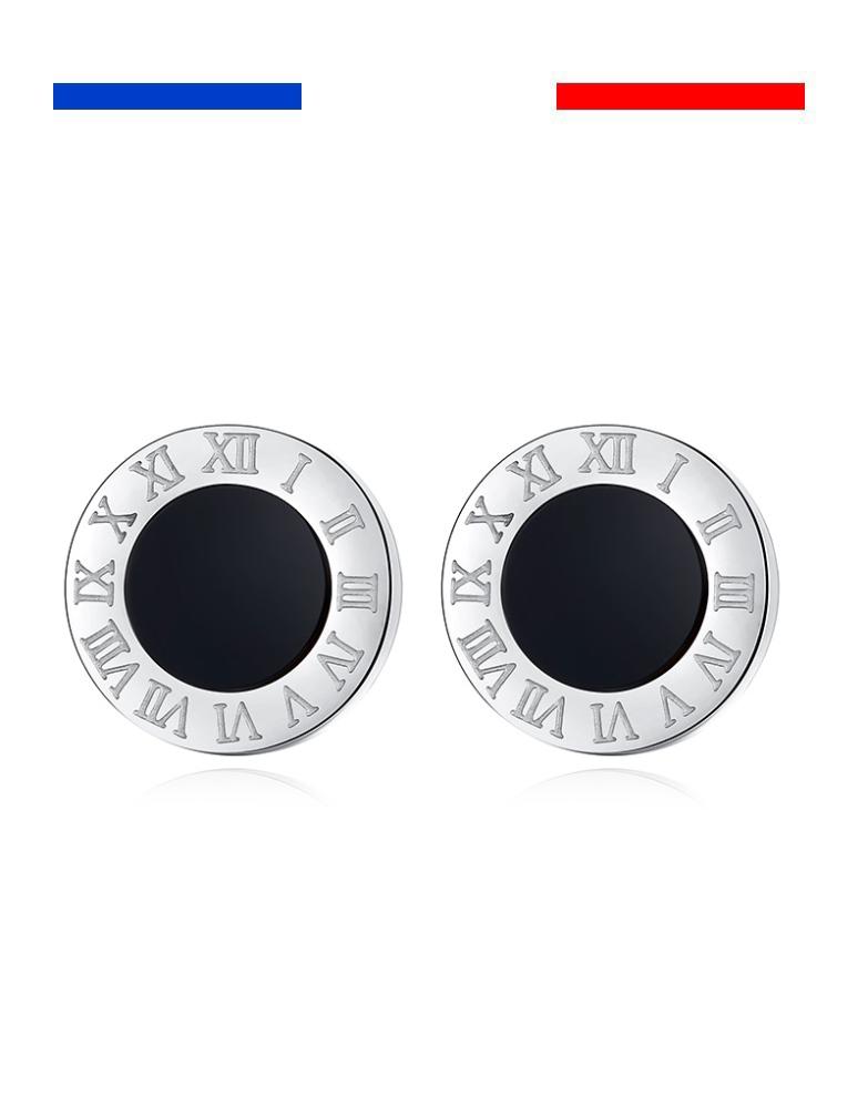 Boucles doreilles en acier inoxydable boucles doreilles rondes pour femmes//hommes motif chiffres romains argent couleur boucles doreilles noires
